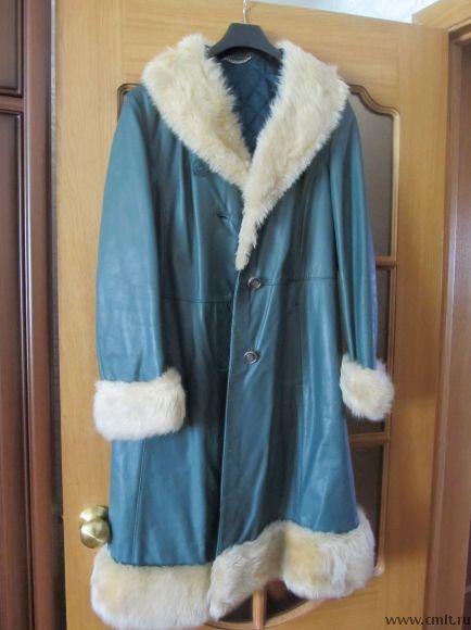 Кожаное пальто, новое, размер 44