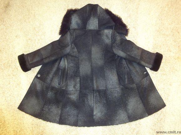 Дублёнка женская натуральная с капюшоном, чёрная с подпалинами, до колен, р.46-48/165, пр-во Турция.