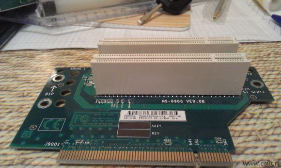 Продам райзер карту PCI->2 PCI Стаяла в системном блоке HP Compaq D530 (должна встать и в другие без проблем) Модель: S-6986 VER: OB (PCI Riser Card) маркировки на плате SP#323090-001 DG#011934-000 AS